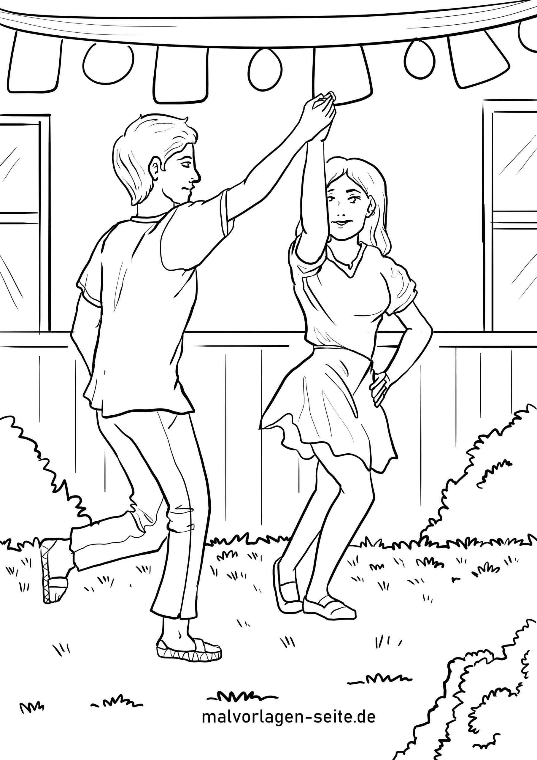 Coloring page dancing - free coloring pages