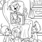 Coloring picture story reading with grandma to color