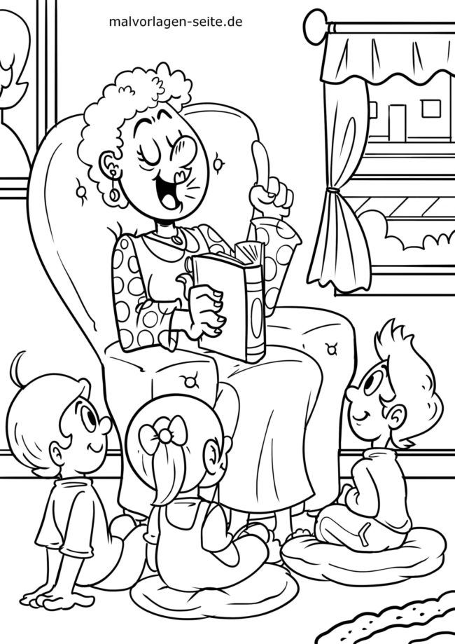 Coloring page reading from a book