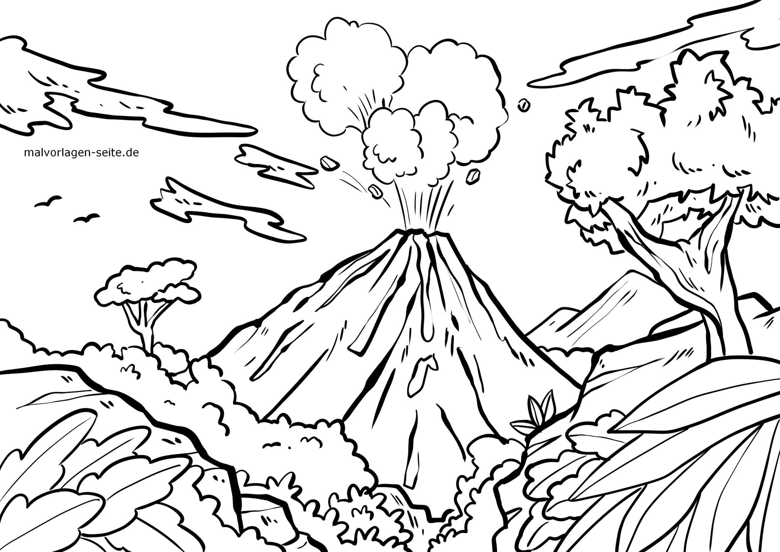 malvorlage vulkan  urlaub reisen  kostenlose ausmalbilder