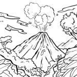 Coloring page volcano Vacation travel