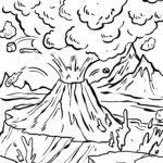 Farvelægning vulkanudbrud Farvebillede til børn