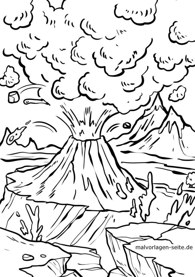 Malvorlage Vulkan