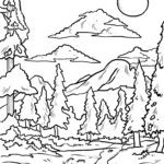 Coloring picture forest with river for coloring