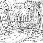 Coloring picture forest landscape for coloring for children