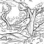 Malvorlage Wald zum Ausmalen für Kinder