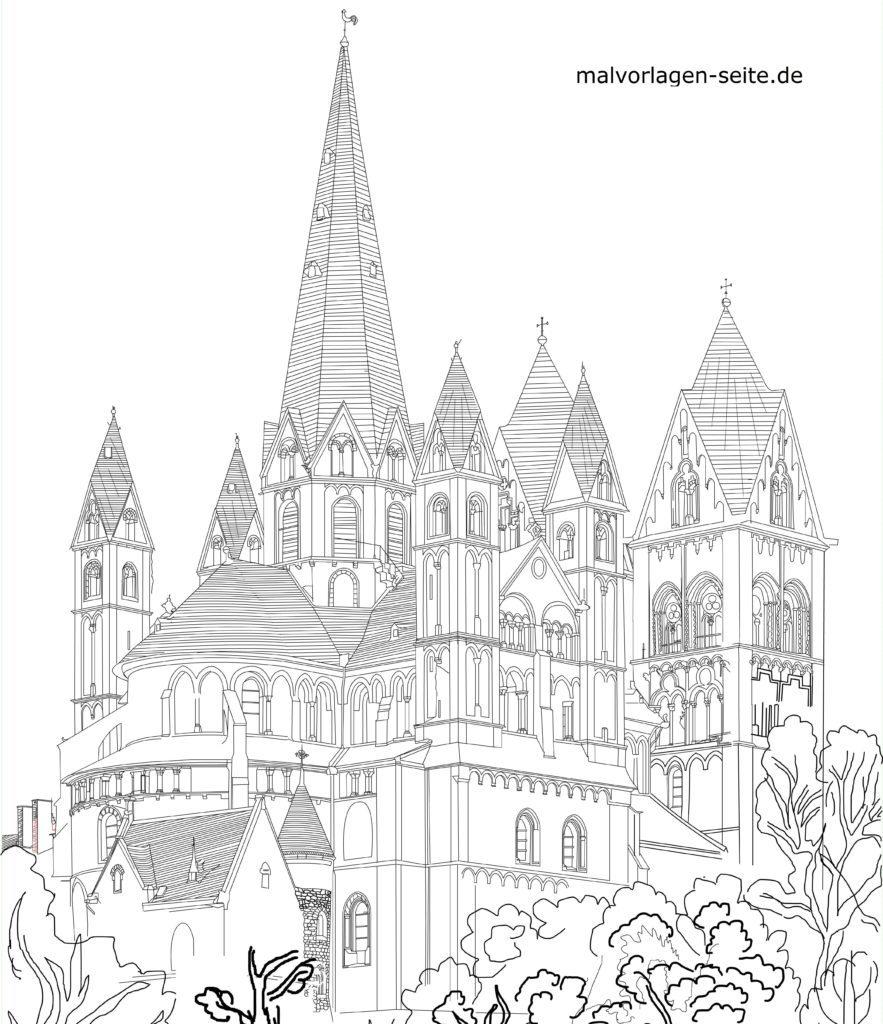 Kleurplaat Limburgse katedraal