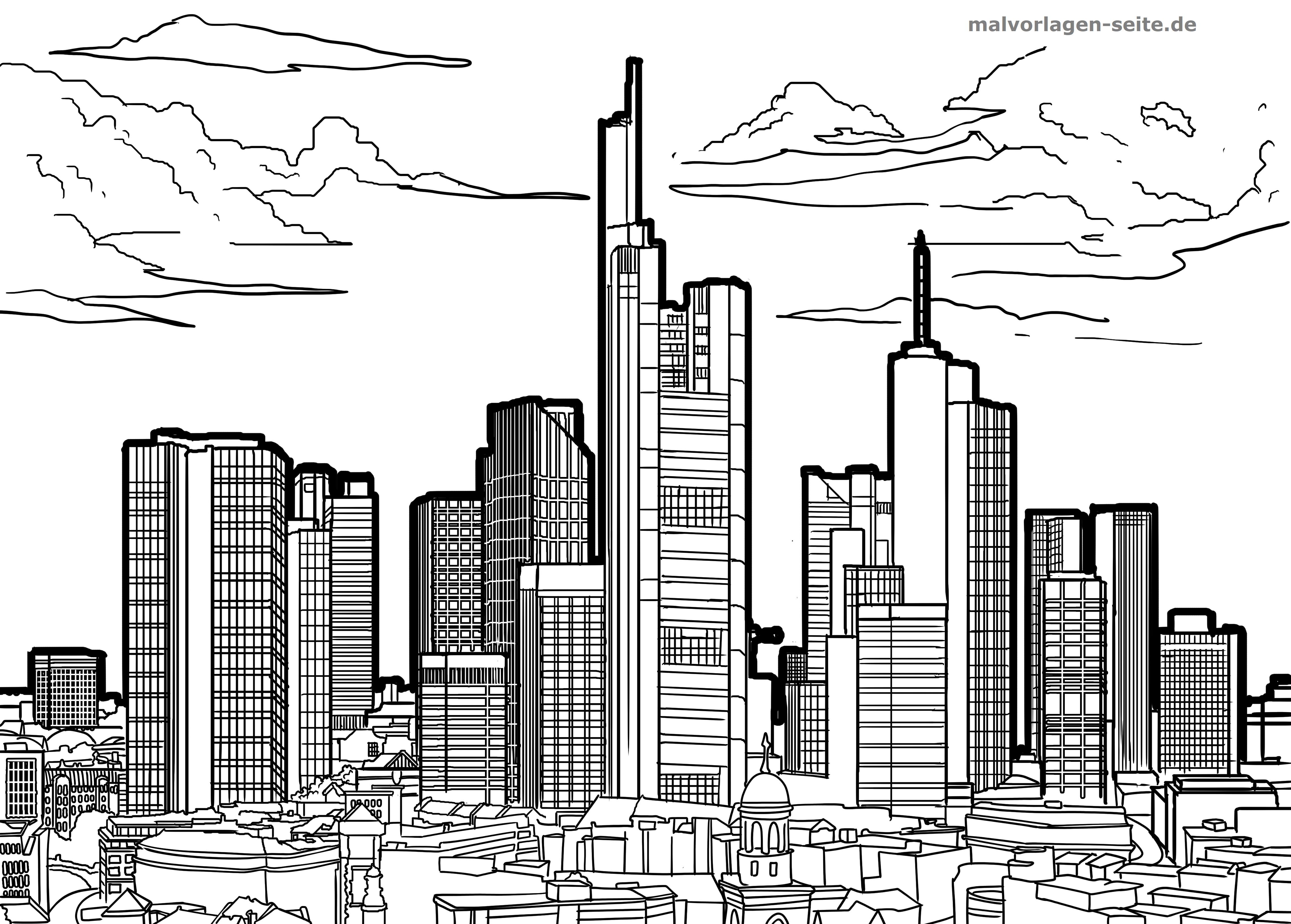 Desenho de Frankfurt am Main skyline para colorir