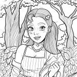 Coloring picture girl in the forest for coloring