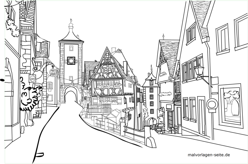 Rothenburg ob der Tauber суретін бояу