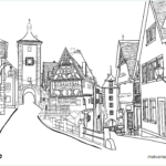Coloring picture Rothenburg ob der Tauber