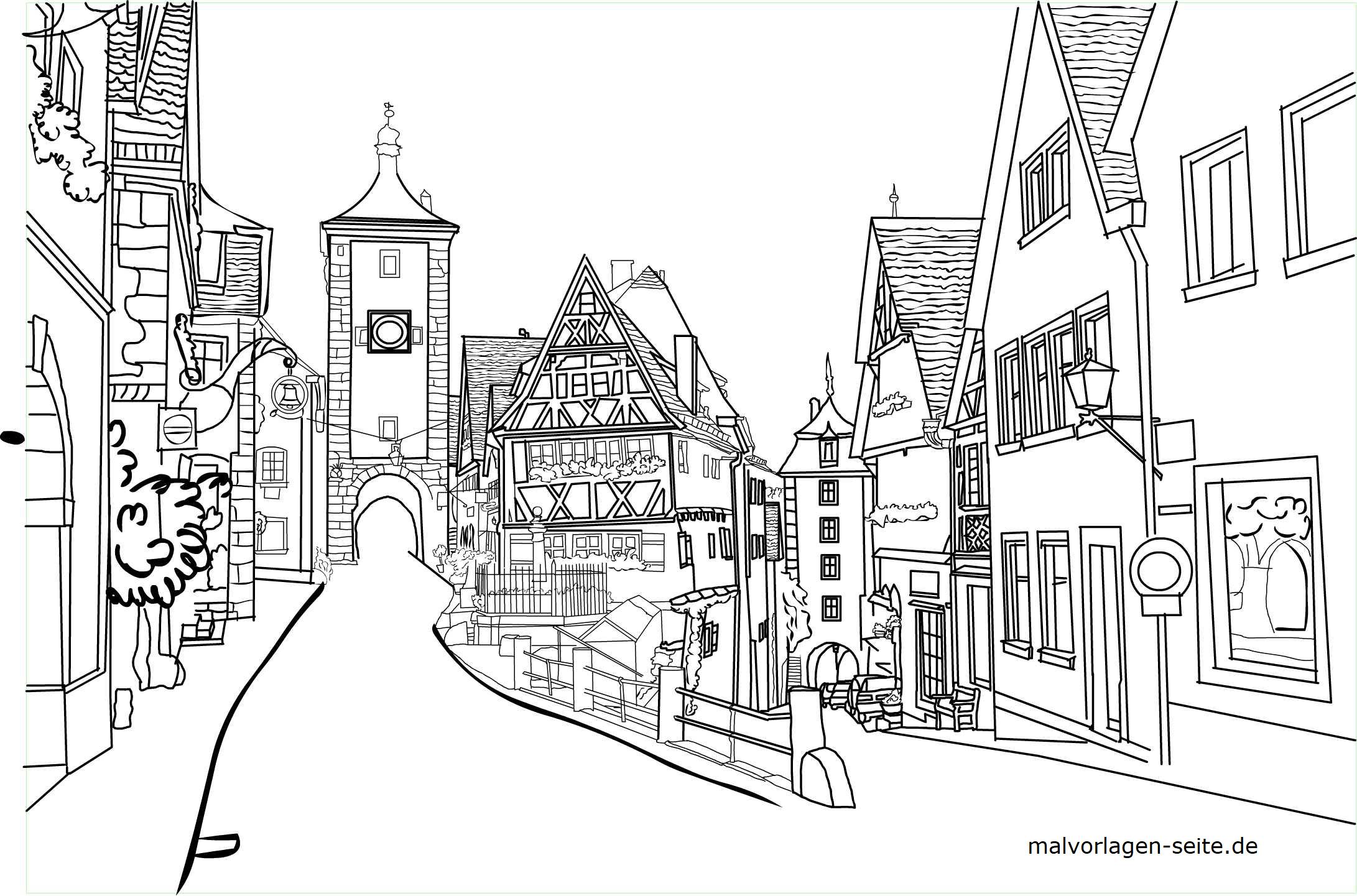 Coloring picture Rothenburg ob der Tauber