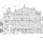 Semperoper coloring page, Dresden