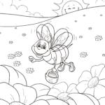 Farvelægning bi indsamler honning insekter