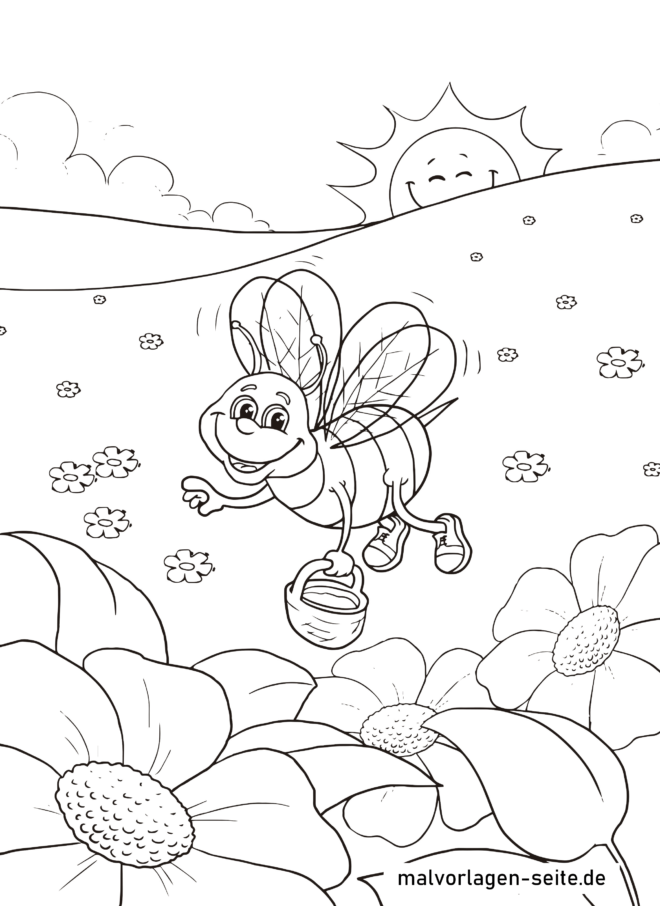 malvorlage biene sammelt honig  insekten  kostenlose