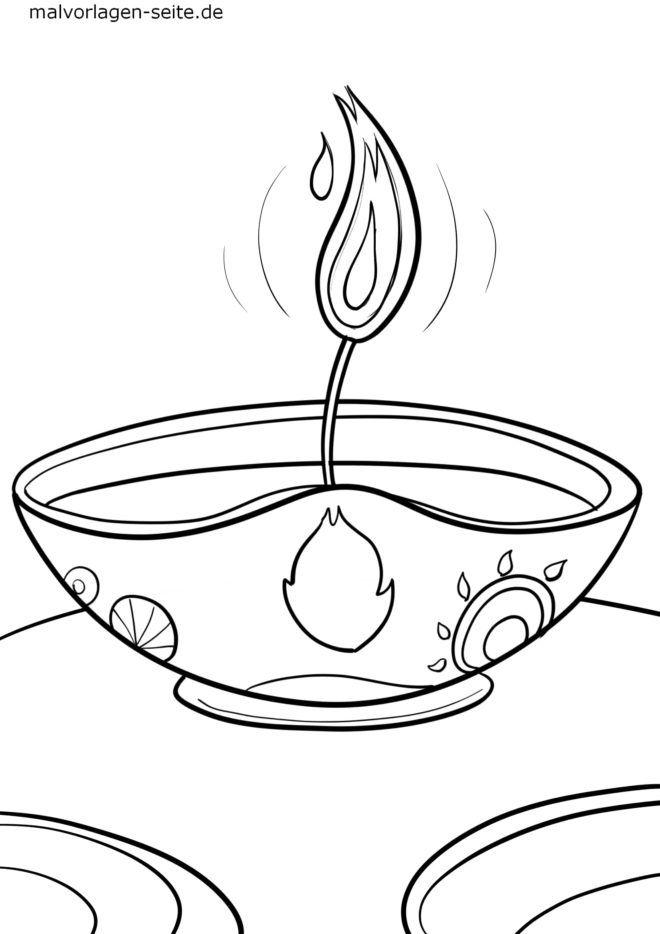 የቀለም ገጽ Diwali በዓል መብራቶች