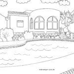 Coloring page house swimming pool villa