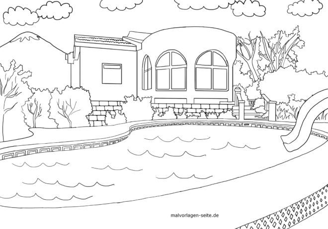 Coloring page house with swimming pool