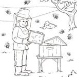 Coloring page beekeeper with bees