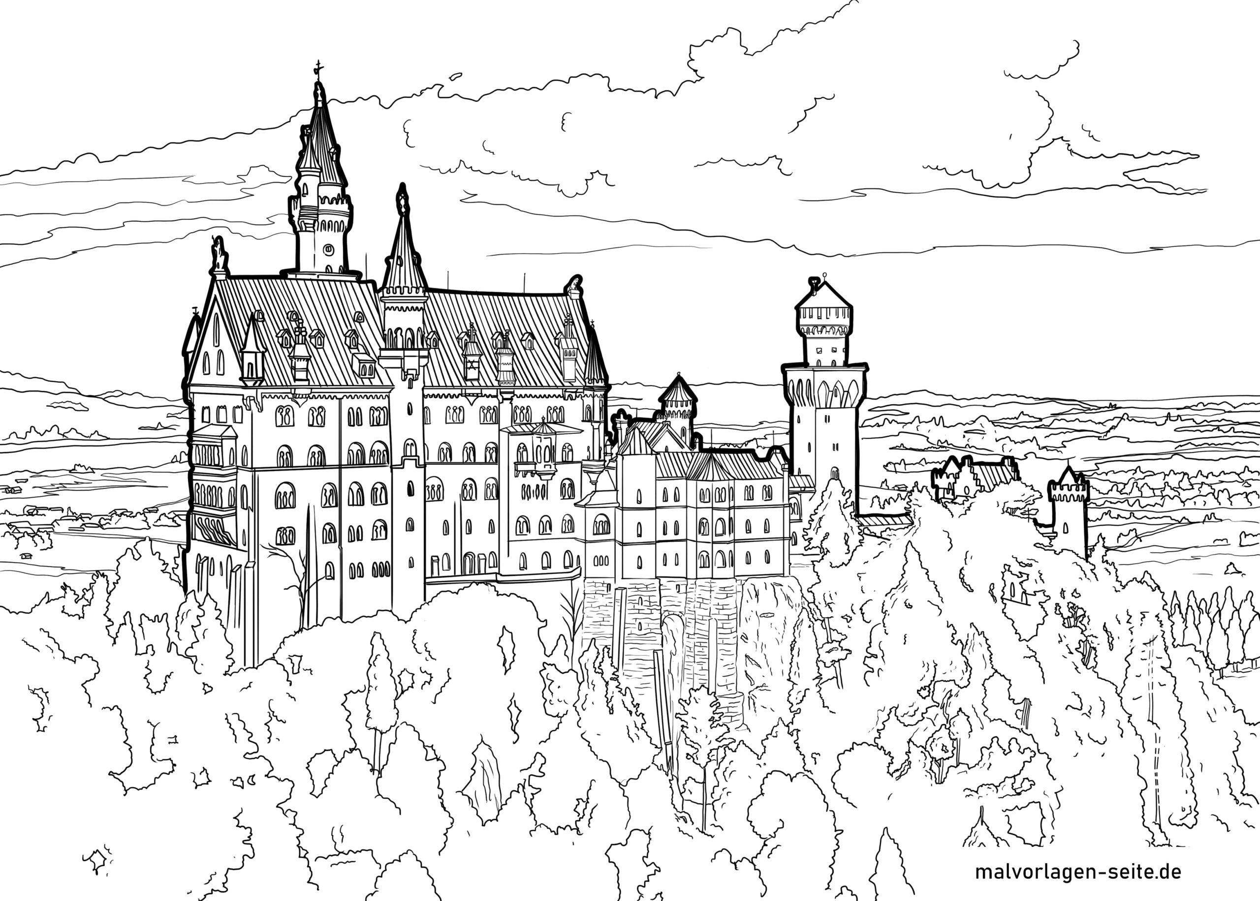 Ausmalbild Schloss Neuschwanstein Kostenlos Herunterladen & Ausmalen