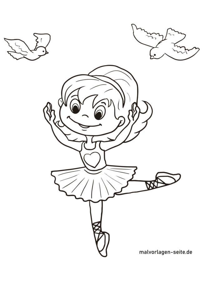 Malvorlage kleine Ballerina