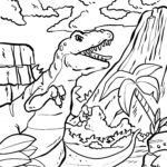 Coloring page volcano and dinosaurs