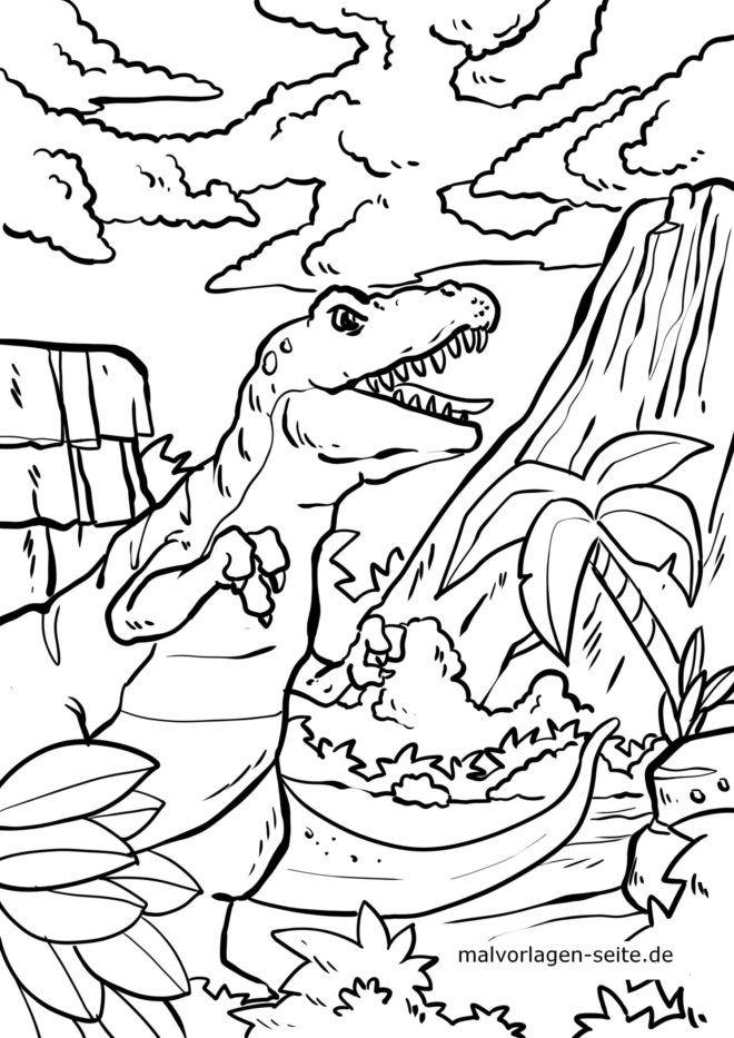 Malvorlage Vulkan Dinosaurier Kostenlose Ausmalbilder