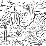 Coloring page volcano to travel