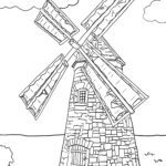 Coloring page Windmill | building