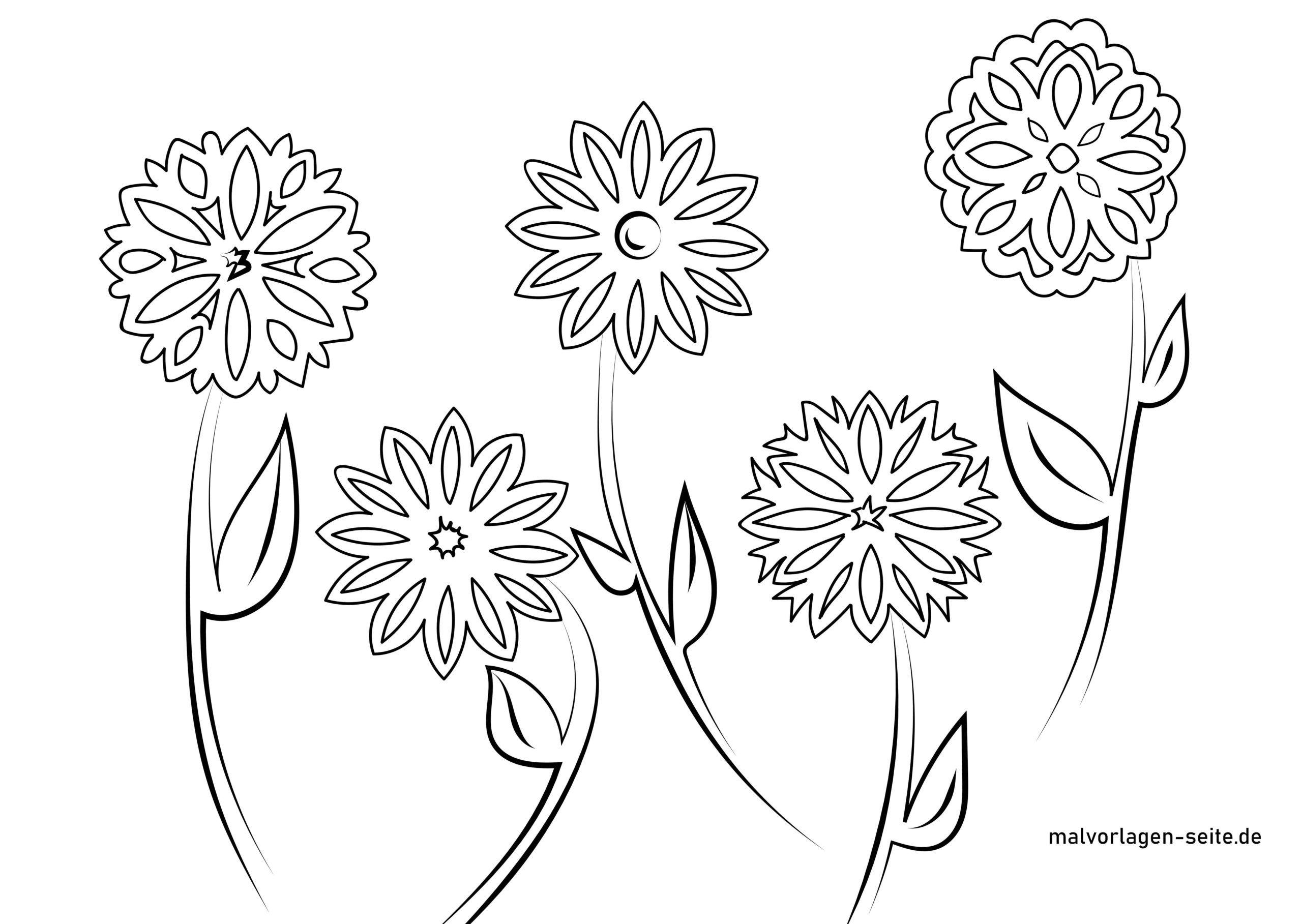 Fensterbilder Vorlage Blumen - Kostenlose Ausmalbilder