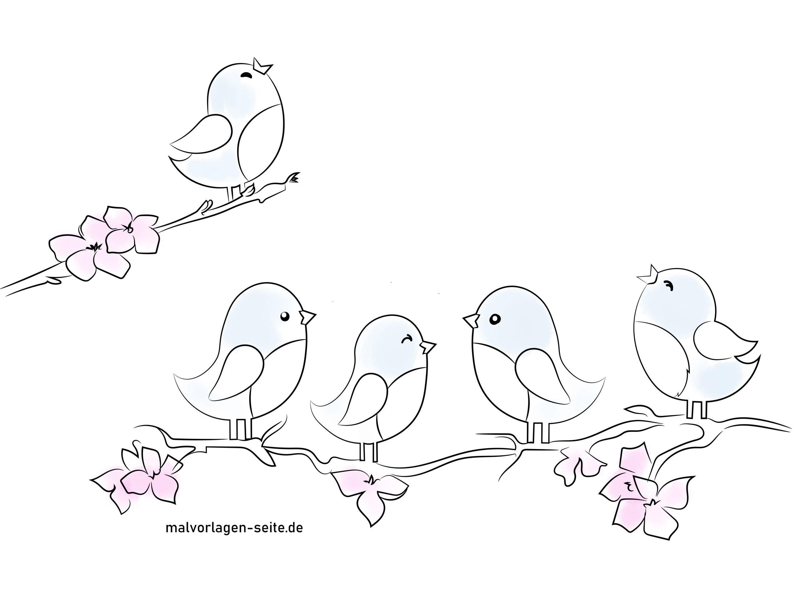 Fensterbilder Vorlage Vögel farbig illustiert