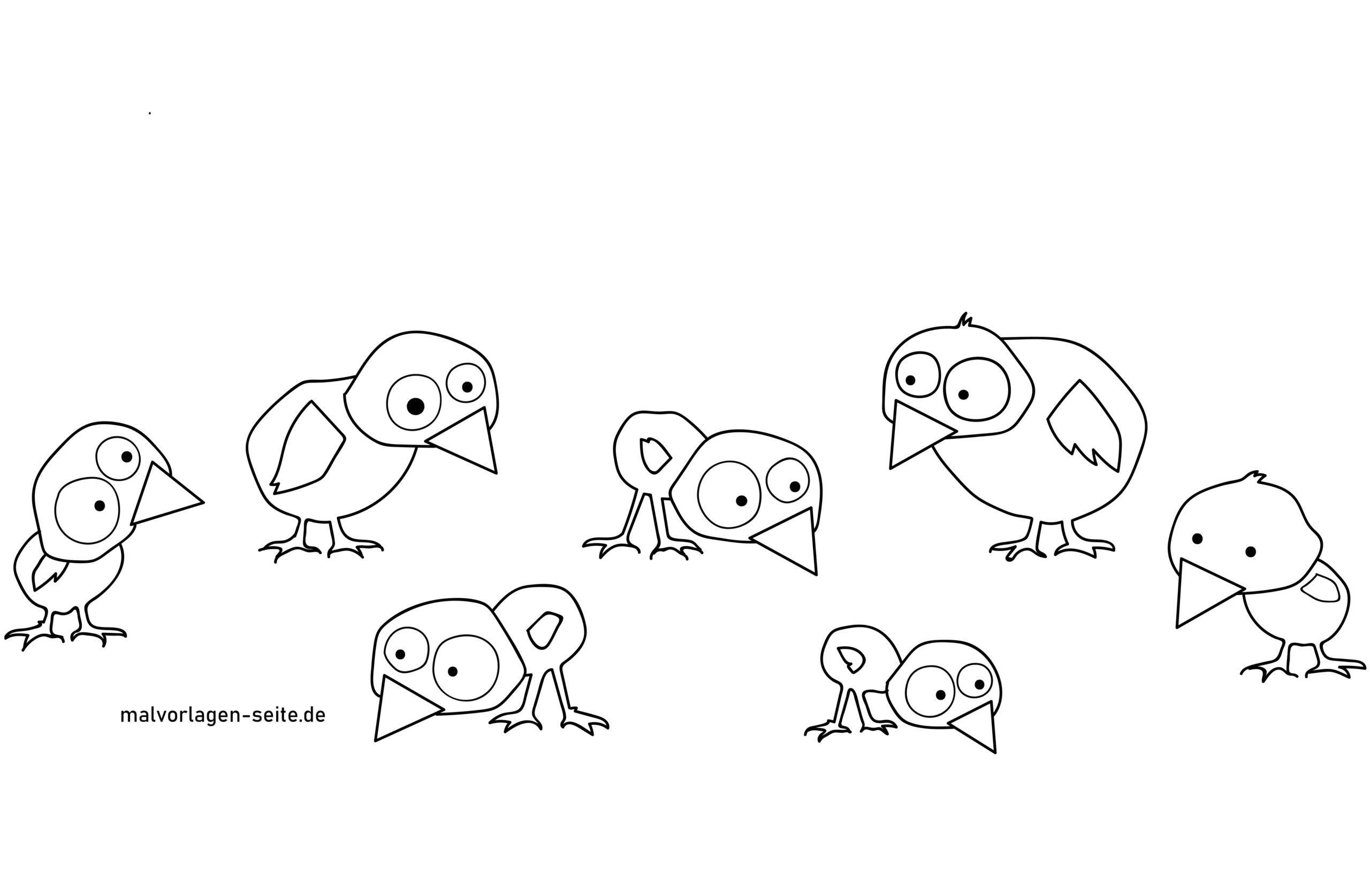 Malvorlage Vögel stilisiert - Kostenlose Ausmalbilder
