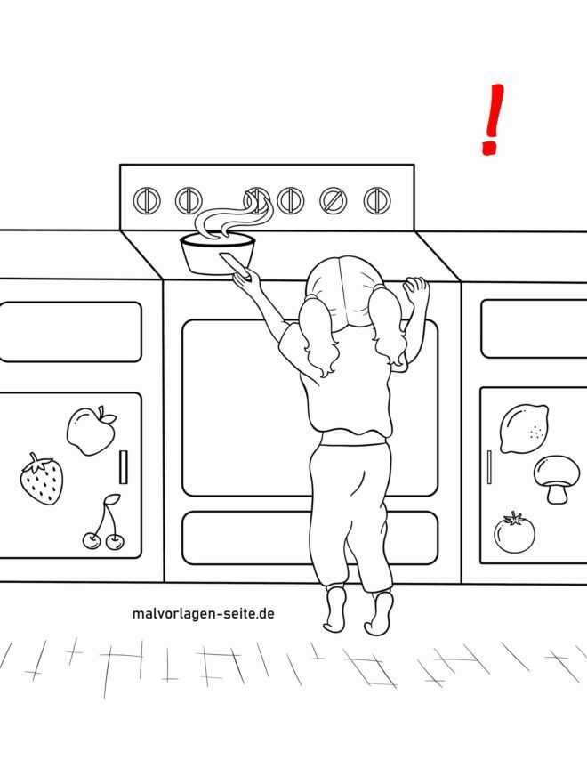 Coloring page caution on the stove