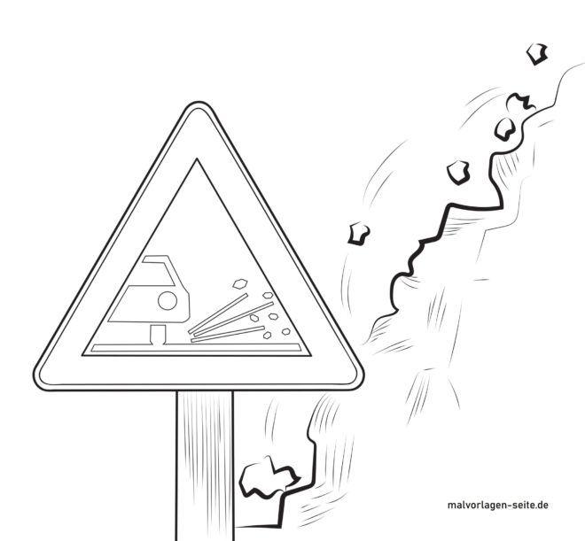 Verkehrszeichen Achtung Splitt Schotter