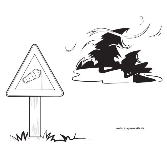Peringatan rambu lalu lintas lintas angin