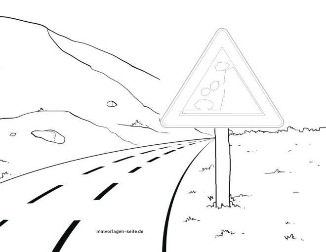 Verkehrsschild Achtung Steinschlag