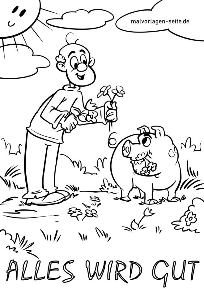 Coloring page happiness - everything will be fine