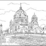 Coloring picture Berlin Cathedral with Palace Bridge over the Spree