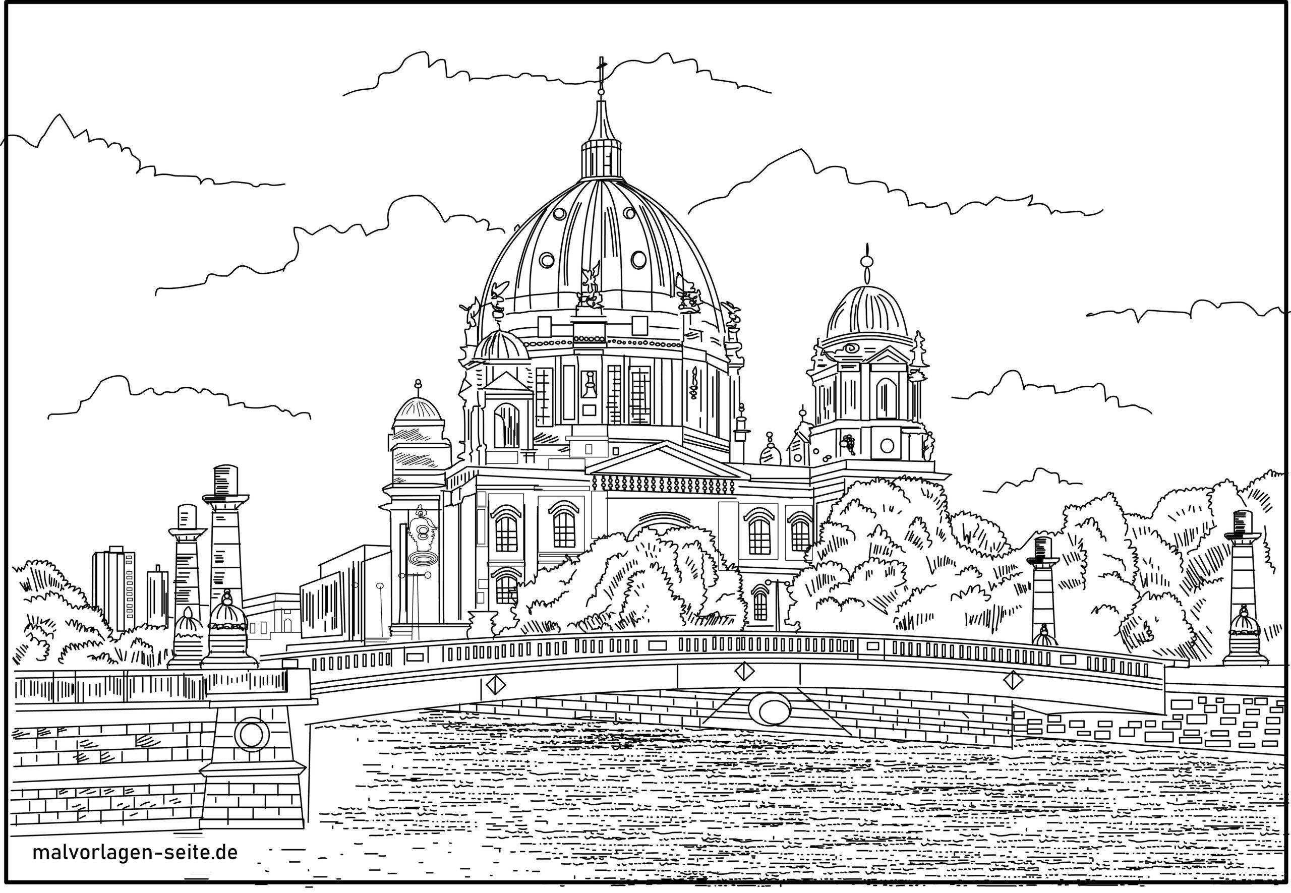 Ausmalbild Berliner Dom mit Schlossbrücke über die Spree