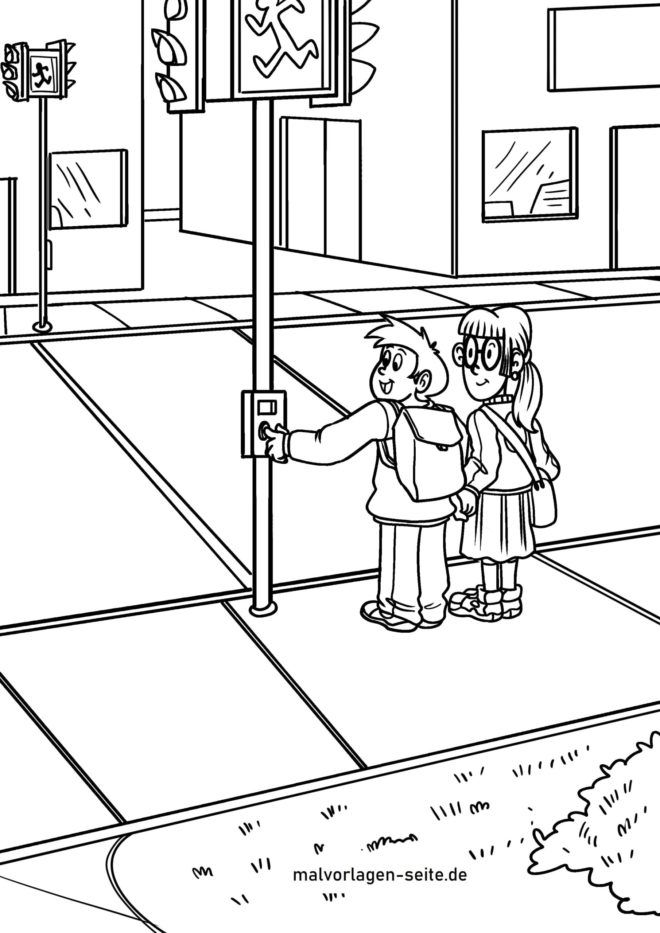 Coloring page cross the street at traffic lights