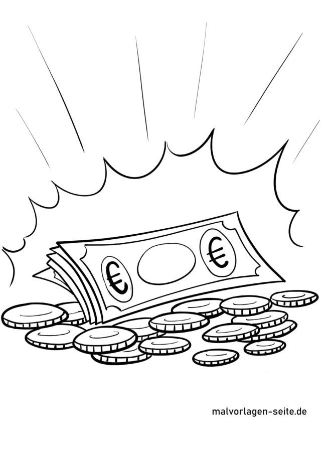 Malvorlage Euro Geld
