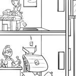 Coloring page work in a factory