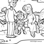 Coloring page family park bench