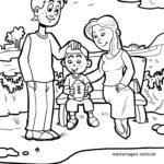 Malvorlage Familie Parkbank