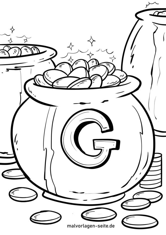 Coloring page gold coins
