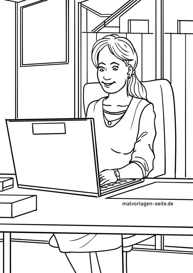 Coloring page home office