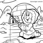 Coloring page igloo with Inuit