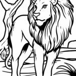 Coloring page lion Wild animals
