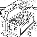Coloring page treasure treasure chest | money