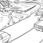 Coloring page safety road traffic Prevention
